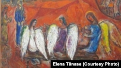 """""""Sfânta Treime"""" a celebrului pictor Marc Chagall. Evreu ucrainean și emigrant din URSS, a fost marcat de ortodoxie. A pictat vitraliile catedralelor gotice de la Reims și Zurich. Nisa a construit un muzeu special pentru lucrările sale."""