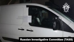 A photo from Russia's Investigative Committee shows a van in which the suspect, who allegedly killed the Russian oligarch, escaped in.