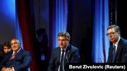 Sleva nadesno: Premijer Bugarske Bojko Borisov, premijer Hrvatske Andrej Plenković, predsednik Srbije Aleksandar Vučić