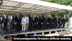 Sa obilježavanja 80. obljetnice početka antifašističke borbe, aktuelni i bivši hrvatski zvaničnici, vjerski velikodostojnici, te političari, Brezovica, 22. lipnja 2021