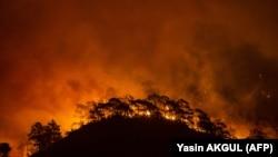 Pamje të pyjeve duke u djegur në Turqi. 29 korrik 2021.