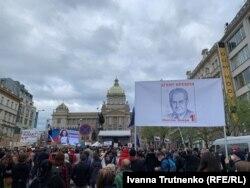 Mii de oameni au cerut la Praga demisia președintelui Milos Zeman, 29 aprilie 2021.
