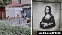 """""""Мона Лиза"""" в маске на одной из стен в Ташкенте и процесс удаления изображения"""