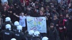 Столкновения демонстрантов и полиции в Гамбурге накануне встречи лидеров G20
