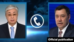 Касым-Жомарт Токаев жана Садыр Жапаров. Архивдик коллаж сүрөт.
