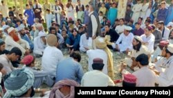 A sit-in protest against the arrests of local residents of North Waziristan by security forces on September 21.