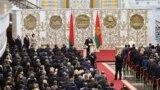 BELARUS -- Belarusian President Alyaksandr Lukashenka takes the oath of office as Belarusian President during a swearing-in ceremony in Minsk, September 23, 2020