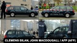 Az autó, amellyel nekihajtottak a német kancellária kapujának Berlinben 2020. november 25-én.