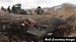 Фотографија од маетото на нападот во блинина на воена база во провинцијата Газни, во Авганистан - 15 јануари 2021