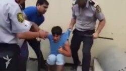 Полиция избивает задержанных на демонстрации в Мингячевире