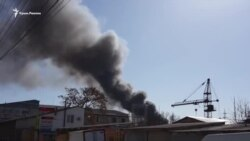 Пожар в Симферополе: горит завод пластмасс (видео)