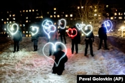 A flashlight protest in Moscow on February 14