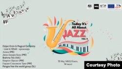 Постер за манифестацијата Today It's All About Jazz што ја организира Здружението на џез музичари на Македонија.