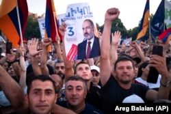 Supporters of Nikol Pashinian rally in the center of Yerevan on June 17.