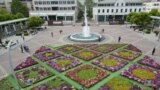 Montenegro -- A Flower carpet in the center of Podgorica ahead of the Europe Day 2021, May 7, 2021.