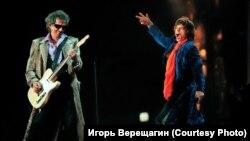 Кит Ричардс и Мик Джаггер. Концерт в Москве. 1998 г.
