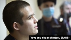 Russian conscript Ramil Shamsutdinov attends a court hearing in Chita late last year.