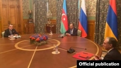 Russia - The foreign ministers of Armenia, Russia and Azerbaijan meet in Moscow, October 9, 2020