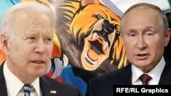 جو بایدن٬ رئیس جمهور امریکا (چپ) و ولادیمیر پوتین٬ رئیس جمهور روسیه