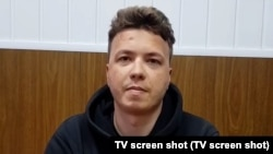 """The EBU cited """"particular alarm"""" at the recent """"broadcast of interviews apparently obtained under duress,"""" likely a reference to videos showing detained Belarusian journalist Raman Pratasevich (pictured) and his girlfriend."""