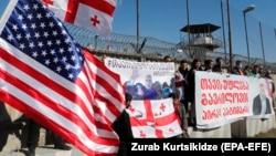 ნიკა მელიას მხარდამჭერი აქცია რუსთავის ციხესთან. 4 მარტი, 2021 წ.