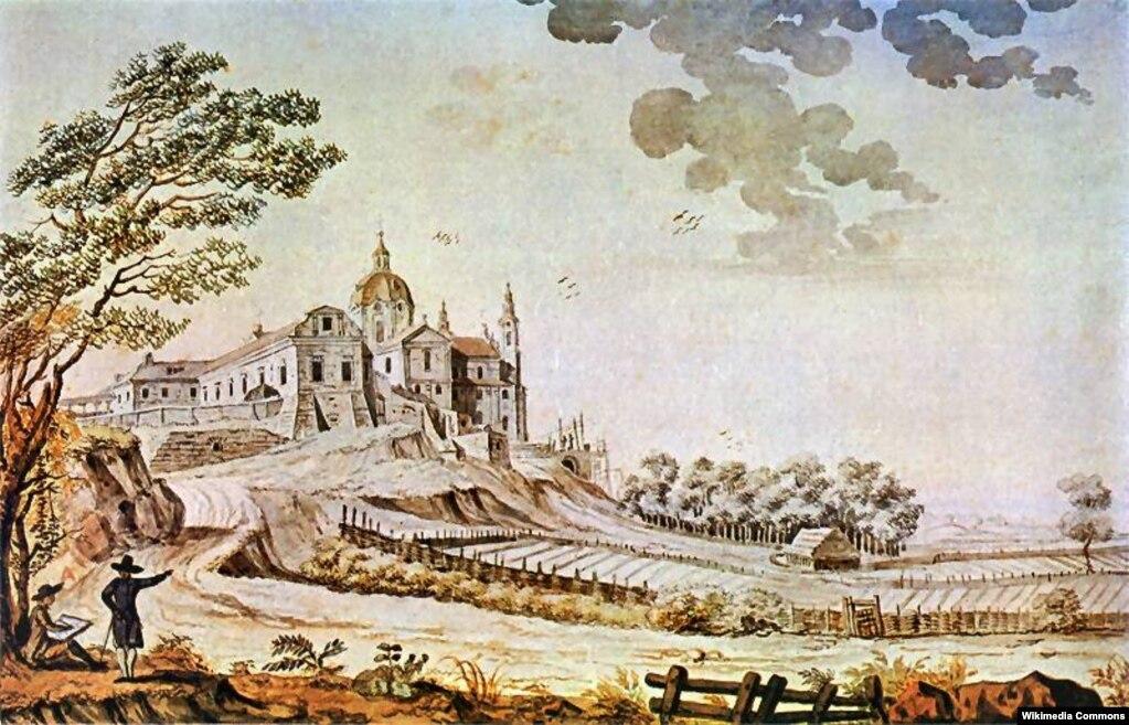 Почаївська лавра в 1791 році (з іншого боку, ніж на попередньому малюнку). Картина художника Зиґмунта Фоґеля (аварель)