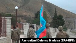 Azerbaijani servicemen in Nagorno-Karabakh earlier this year. (file photo)