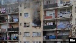 Фотографија од пожарот во Гостивар во кој загина 7-годишно дете