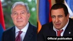 Armenia -- President Armen Sarkissian (L) and Prosperous Armenia Party leader Gagik Tsarukian.