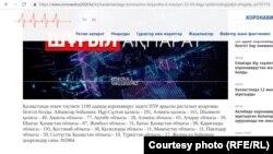 Коронавирус дерегі туралы сенімді ақпарат тарату үшін ашылған coronavirus2020.kz. вебсайтынан скриншот. 5 маусым, 2021 жыл.