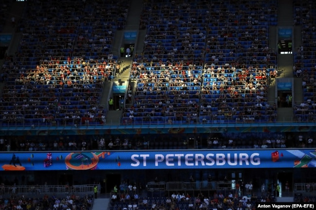 Thousands of spectators attended the Euro 2020 quarterfinal match between Switzerland and Spain in St. Petersburg on July 2.