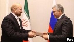 محمدباقر قالیباف پیام خامنه ای را به ویچسلاو والودین، رئیس مجلس دومای روسیه تحویل داد تا به دست پوتین برساند