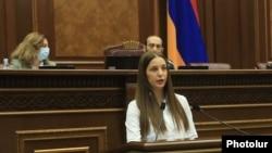 Armenia -- Anna Grigorian is sworn in as a member of the Armenian parliament, Yerevan, January 18, 2021.