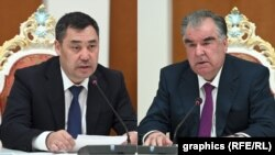 Садыр Жапаров и Эмомали Рахмон, коллаж.