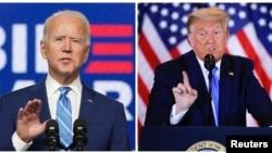 Фотография кандидата в президенты США от Демократической партии Джо Байдена и президента США Дональда Трампа, говорящих о первых результатах президентских выборов в США 4 ноября 2020 года.