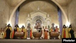 Armenia -- Catholicos Garegin II (C) leads a Christmas Mass at Saint Gregory the Illuminator's Cathedral in Yerevan, January 6, 2021.