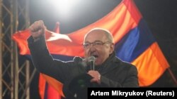 ARMENIA -- Armenian opposition leader Vazgen Manukian delivers a speech during a rally to demand the resignation of Armenian Prime Minister Nikol Pashinian in Yerevan, March 1, 2021