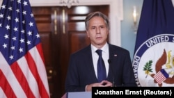 Secretary of State Antony Blinken delivers remarks on August 30 after the U.S. military completed a full withdrawal from Afghanistan.