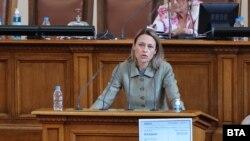Iva Miteva speaks to the new parliament on July 21.