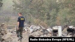 Полиција на местото на изгорени куќи во селото Челопек, Старо Нагоричане