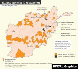 Ауғанстанның Талибан бақылауындағы аудандар. 2021 жылғы 31 мамырдағы мәлімет