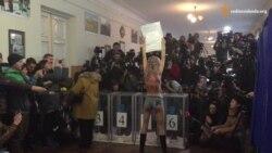 Я не встиг розгледіти – Кличко про «протест» «Фемен» на дільниці (відео)
