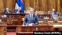 Вучиќ на седница на српскиот Парламент - Белград, 22 јуни 2021