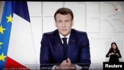 Francuski predsjednik Emmanuel Macron u televizijskom obraćanju naciji o COVID-19 i novim mjerama u Francuskoj, 31. marta , 2021.
