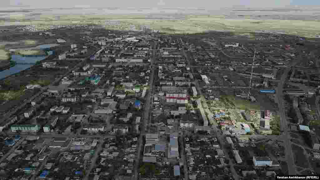 Арқалық қаласының әуеден түсірілген суреті, Қостанай облысы, 26 тамыз, 2020 жыл.