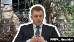 Глава российской администрации Симферополя Валентин Демидов на фоне обрушившегося здания на улице Пушкина, коллаж