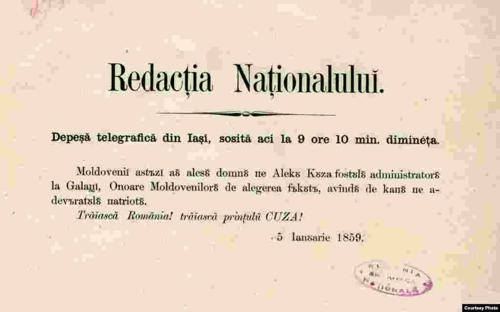 Telegramă de presă anuntând alegerea lui Alexandru Ioan Cuza ca domnitor al Moldovei, ianuarie 1859.