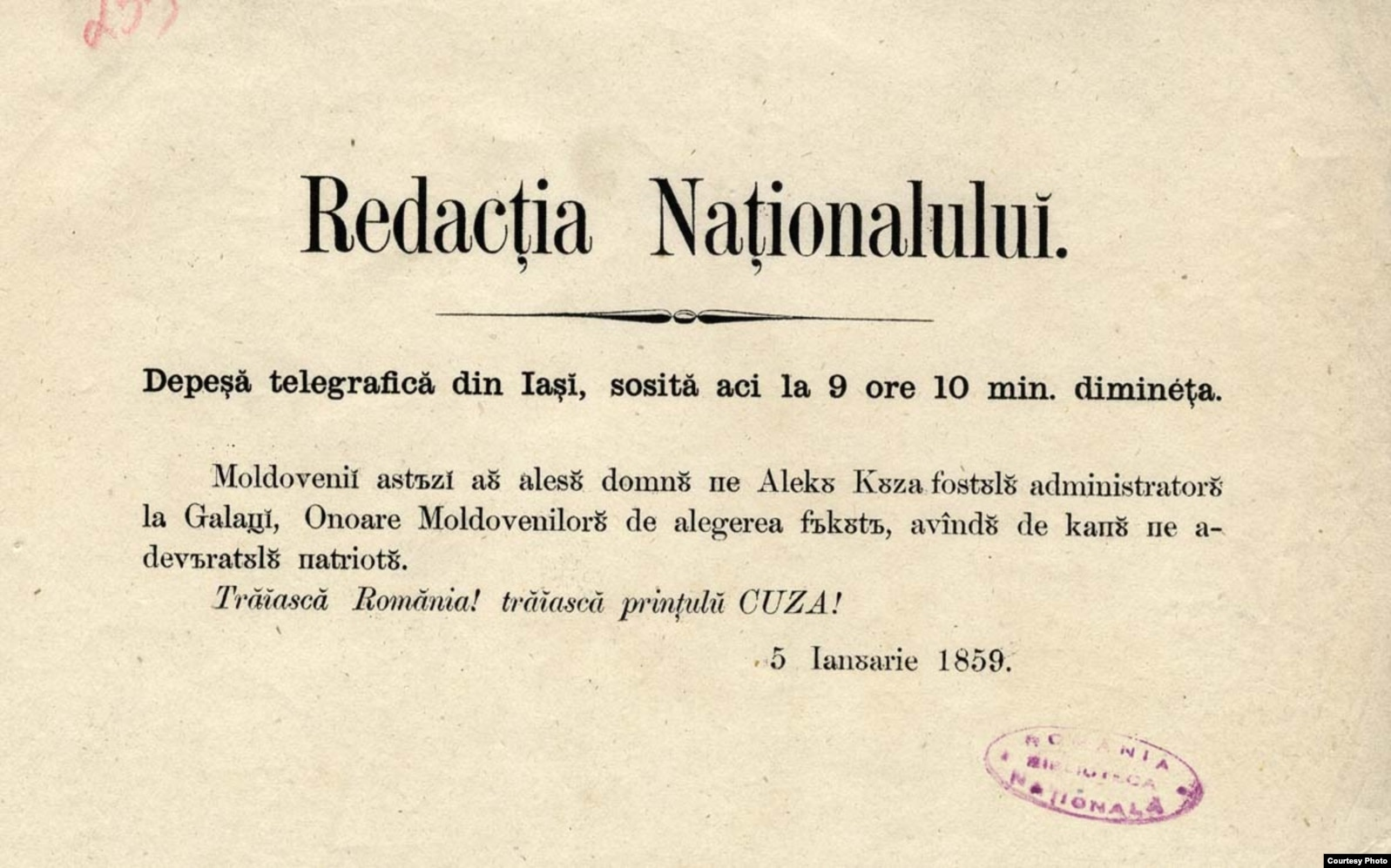 Unirea Principatelor, telegrama anuntând alegerea lui Alexandru Ioan Cuza la Iași. Momentul nașterii României moderne.