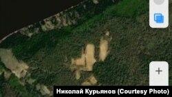 Место раскопок Диринг-Юрях. Вид со спутника