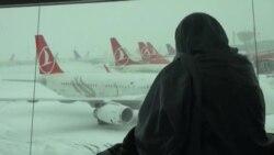 İstanbulun hava limanları 'donub'